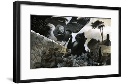 Cat Attacking a Bird-G^ W Backhouse-Framed Giclee Print