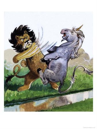 Lion Punching Unicorn-Philip Mendoza-Stretched Canvas Print