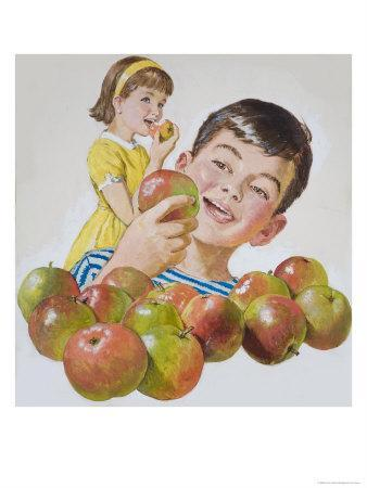 Boy and Girl with Apples-Clive Uptton-Framed Giclee Print