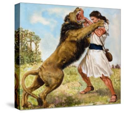 Samson Fighting a Lion-Clive Uptton-Stretched Canvas Print