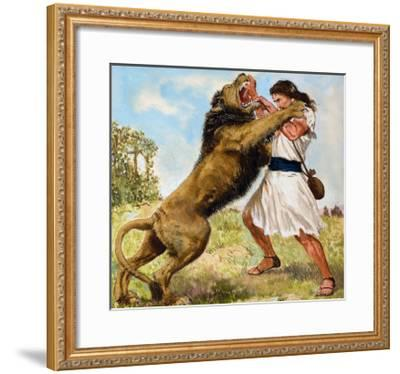 Samson Fighting a Lion-Clive Uptton-Framed Giclee Print