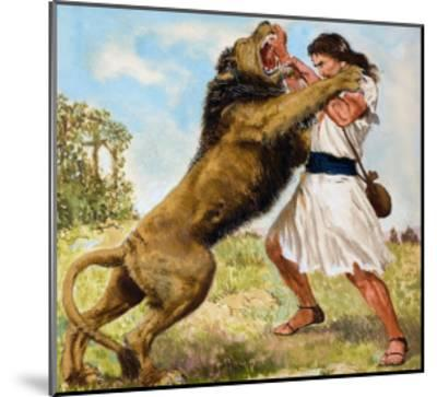 Samson Fighting a Lion-Clive Uptton-Mounted Giclee Print