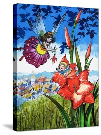 Baby Fairy in a Flower-Jesus Blasco-Stretched Canvas Print