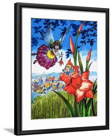 Baby Fairy in a Flower-Jesus Blasco-Framed Giclee Print