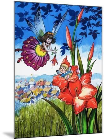 Baby Fairy in a Flower-Jesus Blasco-Mounted Giclee Print