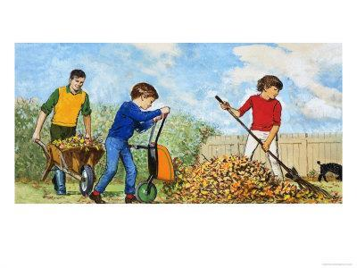 Sweeping Up Autumn Leaves-Clive Uptton-Framed Giclee Print
