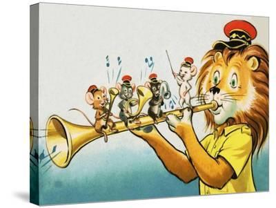 Leo the Friendly Lion-Virginio Livraghi-Stretched Canvas Print
