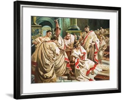 The Death of Julius Caesar-C.l. Doughty-Framed Giclee Print