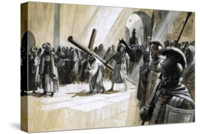 Christ Carrying the Cross-Andrew Howat-Stretched Canvas Print