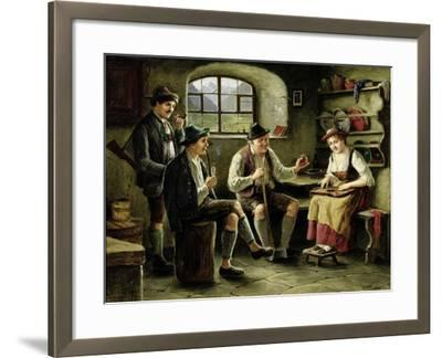 Young Woman Playing a Zither-Carl Ostersetzer-Framed Giclee Print
