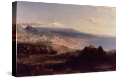 Taormina and Etna, c.1840-Carl Rottmann-Stretched Canvas Print