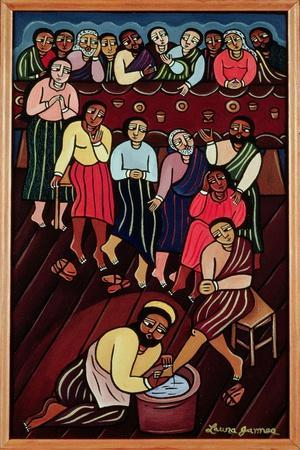 Jesus Washing the Disciples' Feet, 2000-Laura James-Stretched Canvas Print