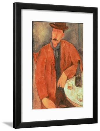 Seated Man Leaning on a Table-Amedeo Modigliani-Framed Giclee Print