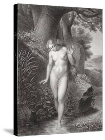 Eve's Reflection in the Water, from a French Edition of 'Paradise Lost' by John Milton-Jules Richomme-Stretched Canvas Print