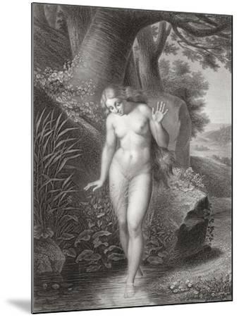 Eve's Reflection in the Water, from a French Edition of 'Paradise Lost' by John Milton-Jules Richomme-Mounted Giclee Print
