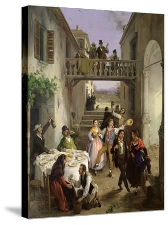 Wedding at Brianza, 1873-Angelo Inganni-Stretched Canvas Print