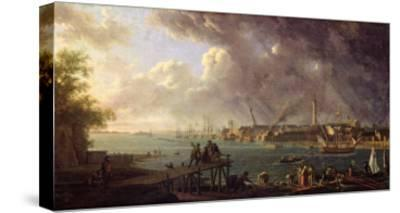 View of the Port of Lorient-Jean-Francois Hue-Stretched Canvas Print