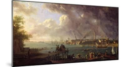 View of the Port of Lorient-Jean-Francois Hue-Mounted Giclee Print