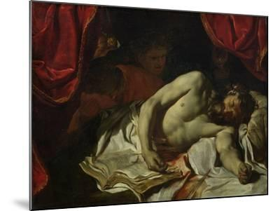 The Death of Cato of Utica-Charles Le Brun-Mounted Giclee Print