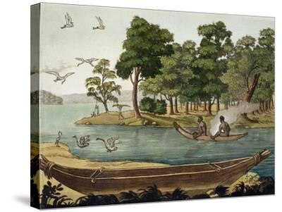 Navigation in New Holland, Engraved Fumagalli, Collection of Early 19th Century Travel Books-Sydney Parkinson-Stretched Canvas Print