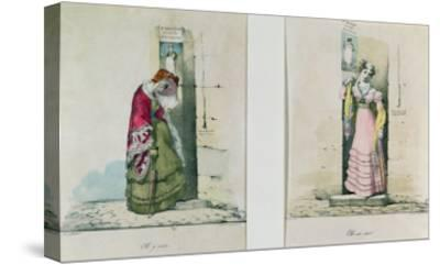 Woman Entering and Leaving an Abortion Clinic, Engraved by Godefroy Engelmann- Wattier-Stretched Canvas Print