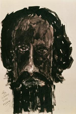 Self-Portrait-Rabindranath Tagore-Stretched Canvas Print