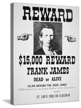 Reward Poster For Frank James--Stretched Canvas Print
