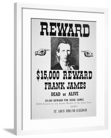 Reward Poster For Frank James--Framed Giclee Print