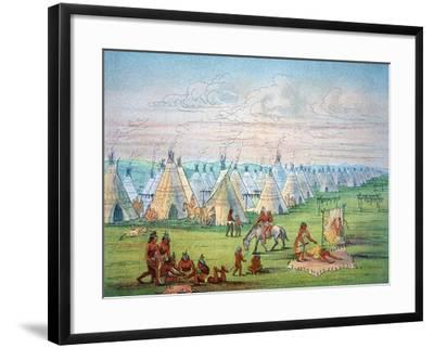 Sioux Camp Scene, 1841-George Catlin-Framed Giclee Print