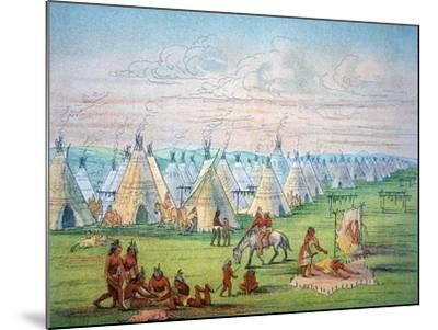 Sioux Camp Scene, 1841-George Catlin-Mounted Giclee Print