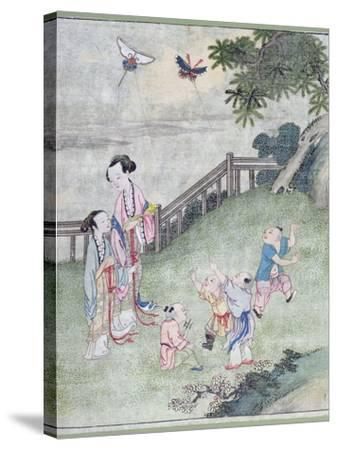 Children Playing with Kites--Stretched Canvas Print