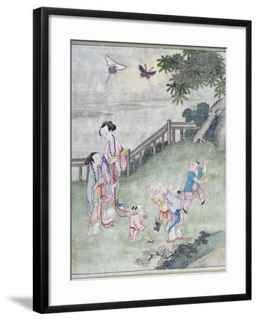 Children Playing with Kites--Framed Giclee Print