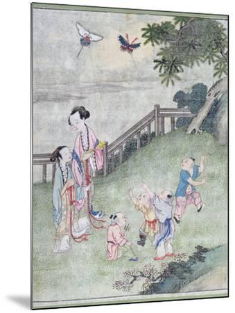 Children Playing with Kites--Mounted Giclee Print