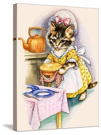 Cat Cooking a Pie--Stretched Canvas Print