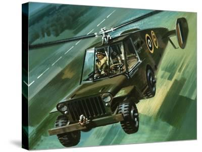 Into the Blue: The Flying Jeep-Wilf Hardy-Stretched Canvas Print