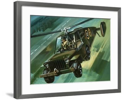 Into the Blue: The Flying Jeep-Wilf Hardy-Framed Giclee Print