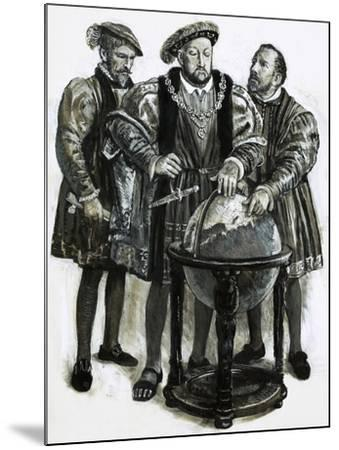 Henry VIII Agrees to Plans to Sail to China by a North-East Passage-Clive Uptton-Mounted Giclee Print