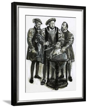 Henry VIII Agrees to Plans to Sail to China by a North-East Passage-Clive Uptton-Framed Giclee Print