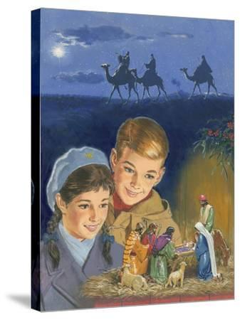 Children Admiring Nativity Scene-Clive Uptton-Stretched Canvas Print