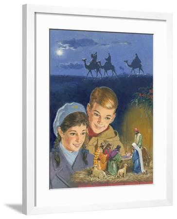 Children Admiring Nativity Scene-Clive Uptton-Framed Giclee Print