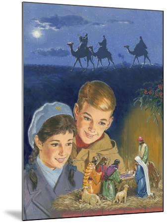 Children Admiring Nativity Scene-Clive Uptton-Mounted Giclee Print