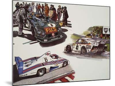 Racing Cars--Mounted Giclee Print