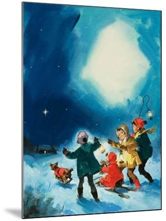 Children in the Snow--Mounted Giclee Print