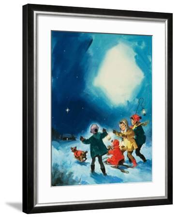 Children in the Snow--Framed Giclee Print