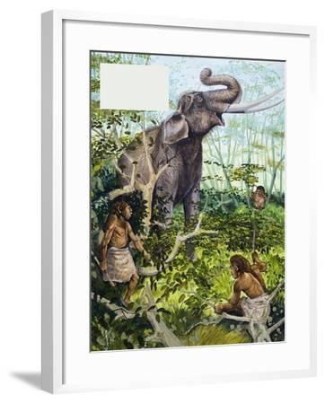Stone Age Man and Elephant--Framed Giclee Print