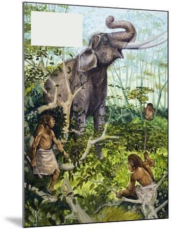Stone Age Man and Elephant--Mounted Giclee Print
