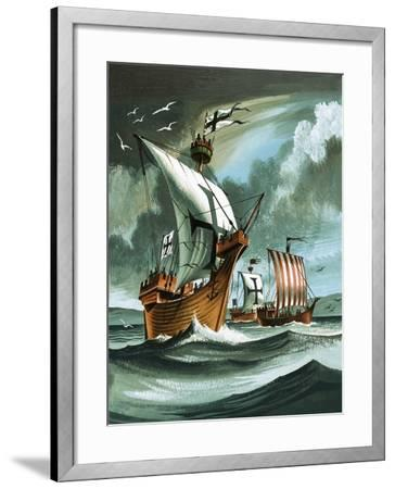 Trading Ships with Teutonic Knights Aboard Closing in on a Pirate Vessal-Dan Escott-Framed Giclee Print