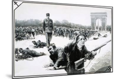 Charles de Gaulle Takes His Victory Walk Down the Champs Elysses During the Liberation of Paris-Graham Coton-Mounted Giclee Print