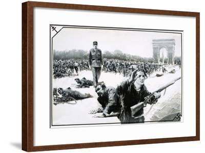 Charles de Gaulle Takes His Victory Walk Down the Champs Elysses During the Liberation of Paris-Graham Coton-Framed Giclee Print