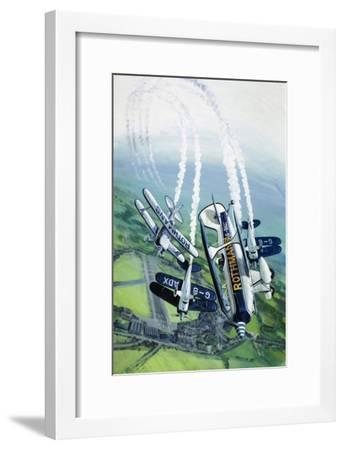 The Rothmans Aerobatics Team Flying in Their Stampe SV4B Biplanes-Wilf Hardy-Framed Giclee Print
